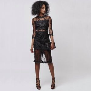 Topshop Black Premium Lace Midi Dress